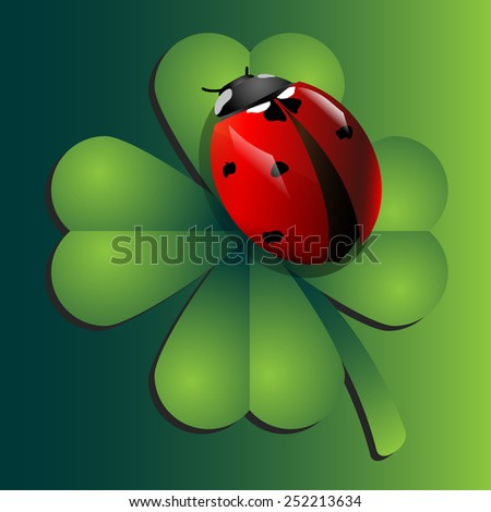 Red ladybug on green clover in vector