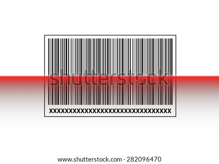 Red laser scan on barcode label, vector illustration - stock vector