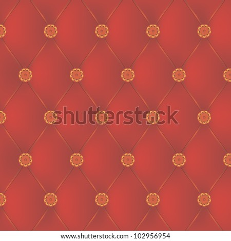 Red leather interior with decorative nails - stock vector