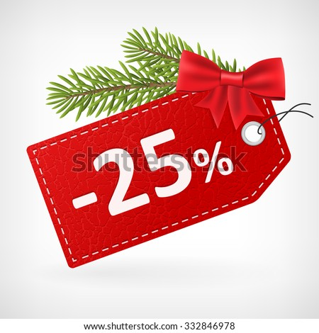 Red leather price christmas vector labels 25 twenty-five percent sale off.  - stock vector