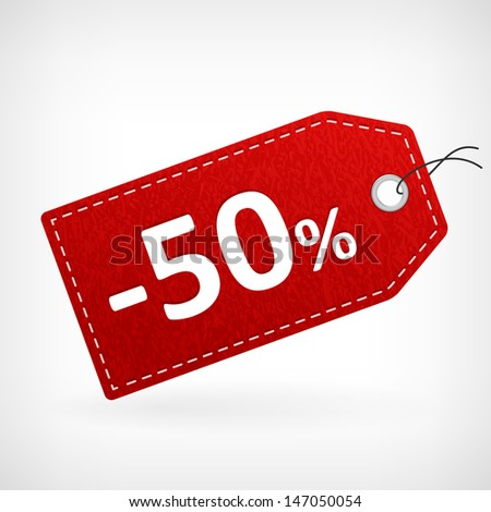 Red leather price vector labels fifty percent sale off. isolated from background. layered. - stock vector