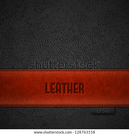 Red leather stripe on black leather background with copyspace - eps10 - stock vector