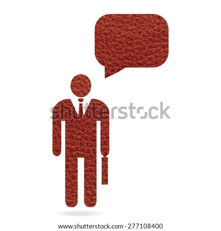 red leather texture businessman with speech bubble for text - stock vector