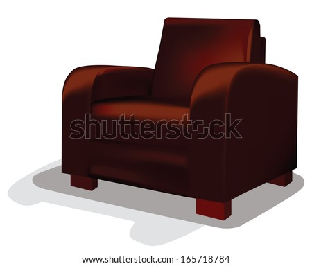 red leather tub chair vector illustration