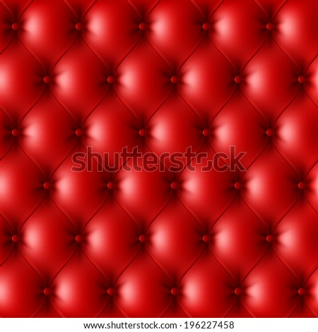 Red leather upholstery pattern. Vector. - stock vector