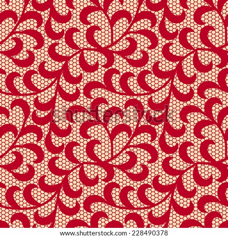 Red leaves lace pattern.