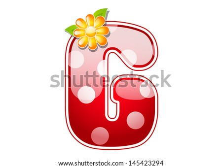 Red letter G with spots and flower - stock vector