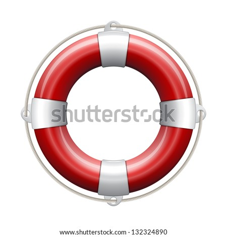 Red life buoy on white background. Vector Illustration. - stock vector