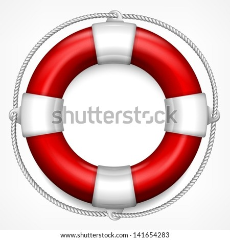 Red life buoy with rope isolated on white background, vector illustration.