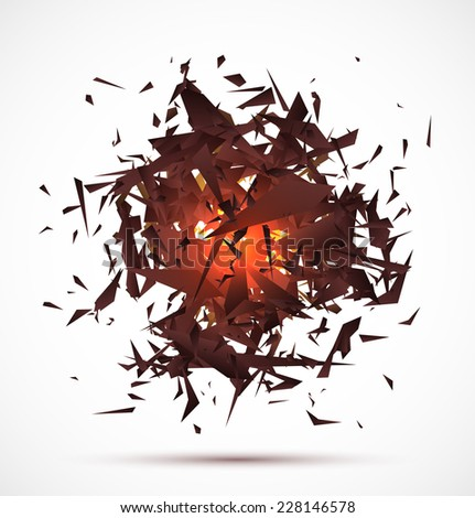 Red light explosion of black particles on white background. Vector illustration - stock vector