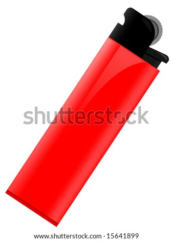 Red lighter for smoking in a vector on a white background