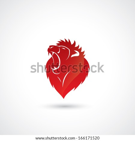 Red lion emblem - vector illustration - stock vector
