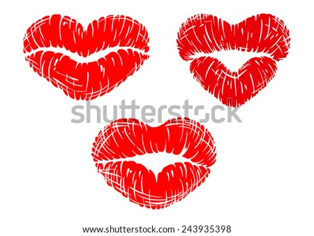Red lip prints with heart shapes for love or Valentine concept design - stock vector