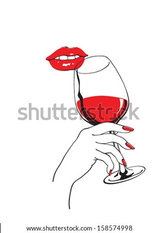 Red lips and a wineglass - stock vector