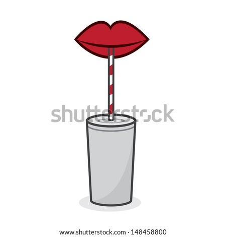 Red lips drinking from straw  - stock vector