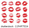 Red lips imprint isolated on white background, vector illustration, set - stock photo