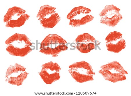 Red lipstick kiss. Isolated on white background, vector illustration
