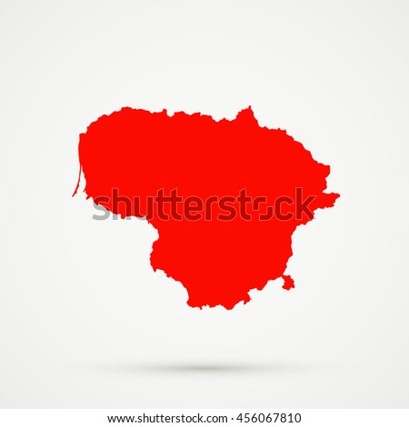 Red Lithuania Map Illustration