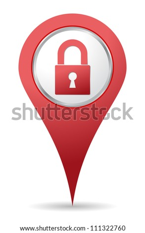 red location padlock icon for maps - stock vector