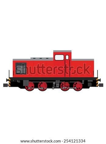 Red locomotive vector, old locomotive, transportation, children toy locomotive - stock vector
