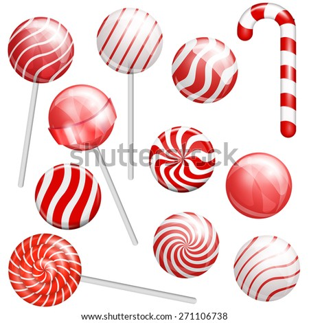 Red lollipops collection. Realistic candys with different design, vector illustration - stock vector