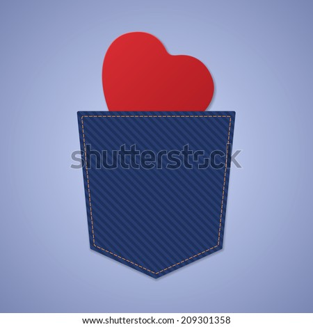 Red love heart in jeans back pocket, isolated on blue background. Vector illustration, eps 10. - stock vector