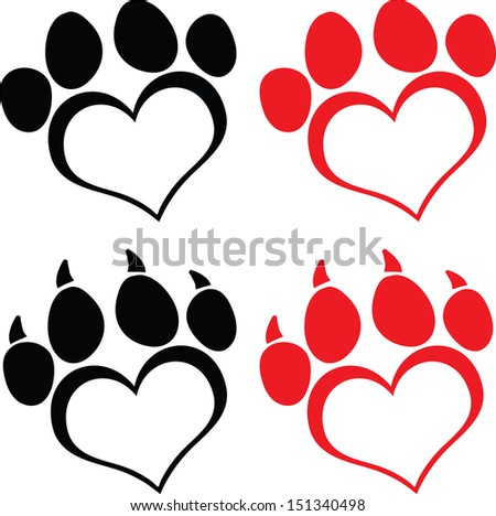 Red Love Paw Print With Claws. Set Vector Collection - stock vector
