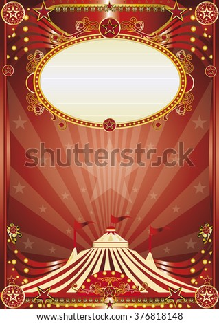 Red magic circus background. A beautiful circus poster for your entertainment - stock vector