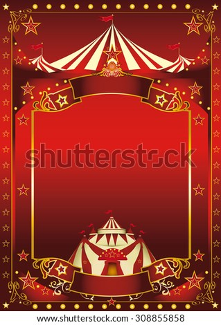 Red magic circus poster. A red background circus with a large copy space and a big top for your message. - stock vector