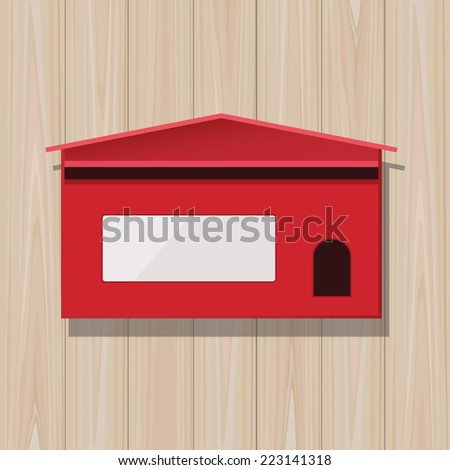 Red mail box on wooden texture background. - stock vector