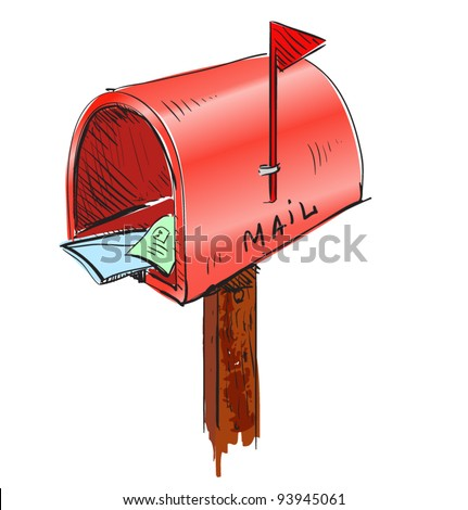 Red mailbox cartoon icon. Sketch fast pencil hand drawing illustration in funny doodle style - stock vector