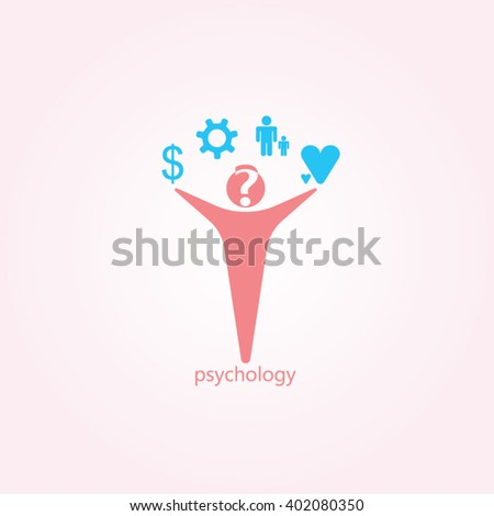 Red man blue icon and gradients background for psychology logo design - stock vector