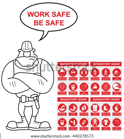 Red mandatory construction engineering and manufacturing health and safety sign set with work safe be safe message isolated on white background