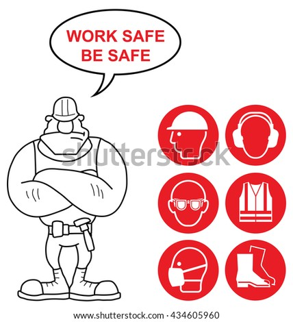 Red mandatory construction manufacturing and engineering health and safety signs to current British Standards with work safe be safe message isolated on white background