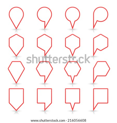 Red map pin sign location icon with gray reflection and shadow isolated on white background  in simple flat style. This web design element save in vector illustration 8 eps - stock vector