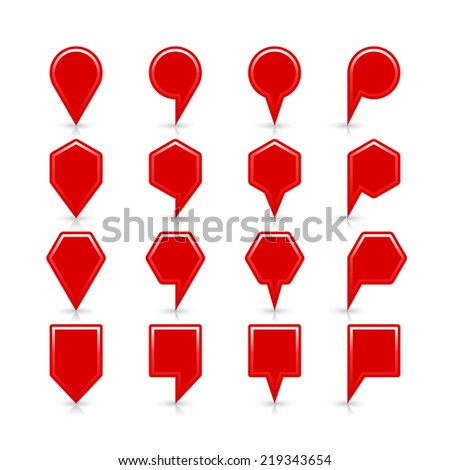 Red map pin sign satin location icon with copy space and gray reflection and shadow isolated on white background. Web design element save in vector illustration 8 eps - stock vector