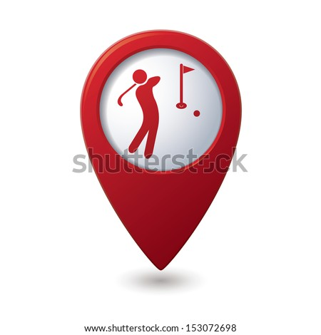 Red map pointer with golf icon. - stock vector