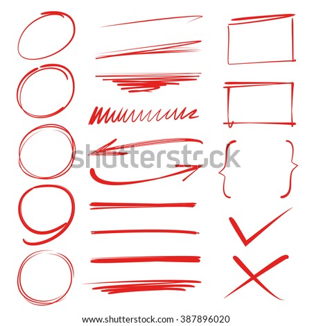 red marker elements, highlighter elements, circle marks, arrows, underlines, brush lines - stock vector