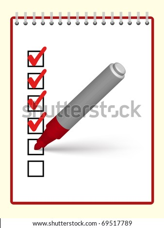 red marker putting ticks at the notebook - stock vector