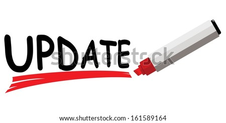 red marker underlining word update  - stock vector