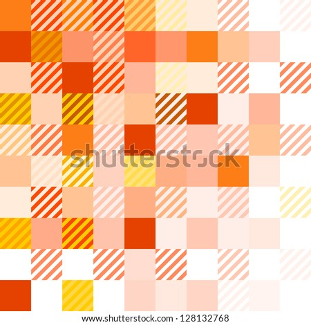 Red Matter - Orange and red texture with squares and diagonal lines - stock vector