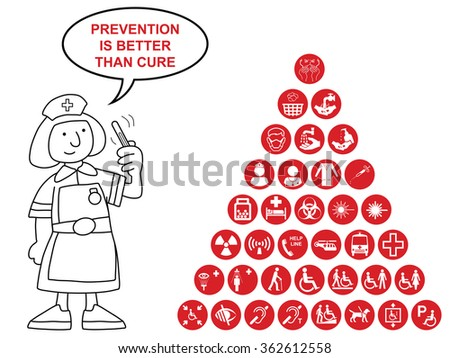 Red Medical and health care related pyramid icon collection isolated on white background with prevention is better than cure message - stock vector