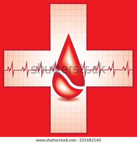 Red medical background with drop of blood and heart beat - stock vector