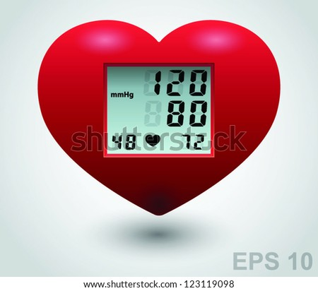 Red medical heart monitor. Vector sign - stock vector