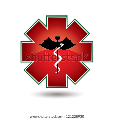 Red medical symbol isolated vector white background - stock vector