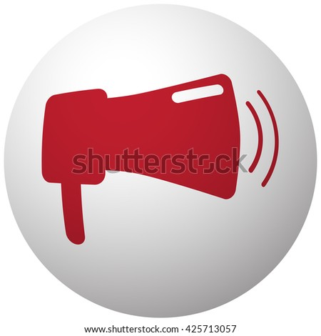 Red Megaphone icon on white ball