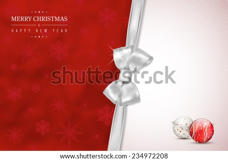 Red Merry Christmas and Happy New Year card with silver bow, snowflakes and shiny christmas balls. Place for your text - vector illustration. - stock vector