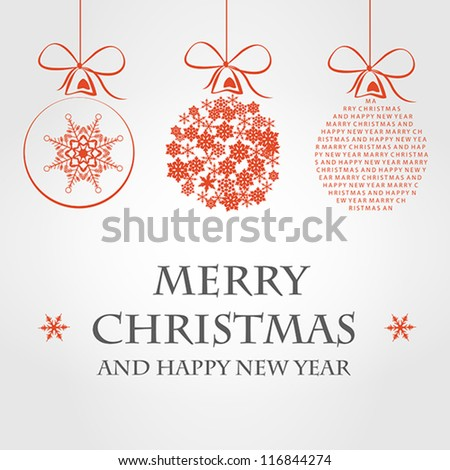 red merry christmas concept. christmas balls. - stock vector