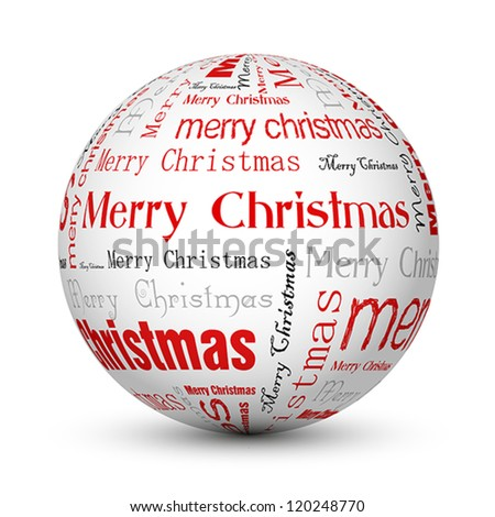 red merry christmas typographic balls. christmas card.
