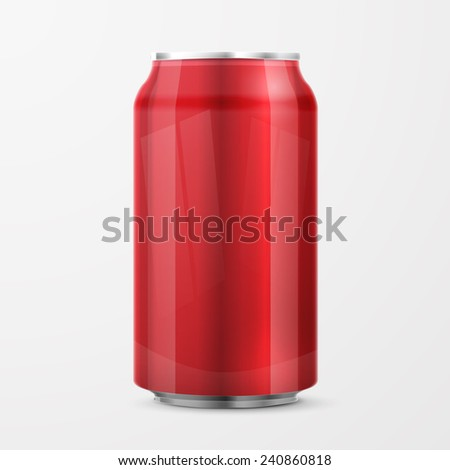 Red Metal Aluminum Beverage Drink Can . Ready For Your Design. Product Packing - stock vector